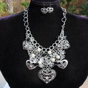 Boho Silver Heart Statement Necklace & Earring Set